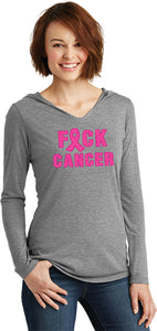 Ladies Breast Cancer T-shirt Fxck Cancer Tri Blend Hoodie