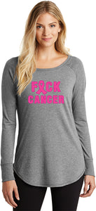 Ladies Breast Cancer T-shirt Fxck Cancer Tri Blend Long Sleeve