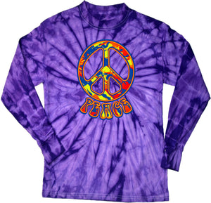 Buy Cool Shirts Peace T-shirt Funky 70's Peace Sign Tie Dye Long Sleeve