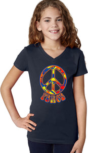 Girls Peace T-shirt Funky 70's Peace Sign V-Neck