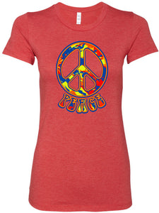 Buy Cool Shirts Ladies Peace T-shirt Funky 70's Peace Sign Longer Length Tee