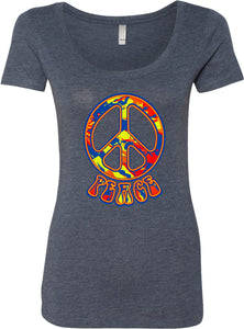 Ladies Peace T-shirt Funky 70's Peace Sign Scoop Neck
