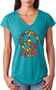 Ladies Peace T-shirt Funky 70's Peace Sign Triblend V-Neck