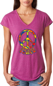 Buy Cool Shirts Ladies Peace T-shirt Funky 70's Peace Sign Triblend V-Neck