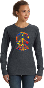 Buy Cool Shirts Ladies Peace Sweatshirt Funky 70's Peace Sign