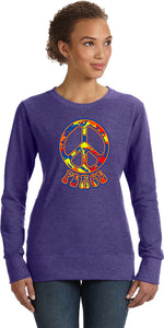 Ladies Peace Sweatshirt Funky 70's Peace Sign