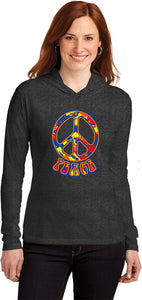 Buy Cool Shirts Ladies Peace T-shirt Funky 70's Peace Sign Hooded Shirt
