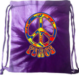 Peace Bag Funky 70's Peace Sign Tie Dye Drawstring Bag