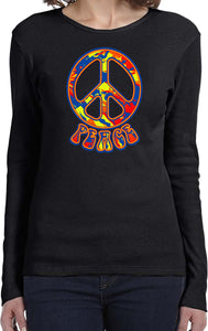 Ladies Peace T-shirt Funky 70's Peace Sign Long Sleeve