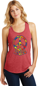 Ladies Peace Tank Top Funky Peace Sign Racerback