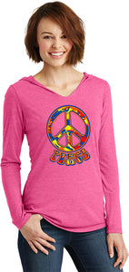 Ladies Peace T-shirt Funky 70's Peace Sign Tri Blend Hoodie