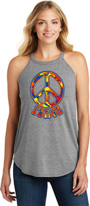 Buy Cool Shirts Ladies Peace Tank Top Funky 70's Peace Sign Tri Rocker Tanktop