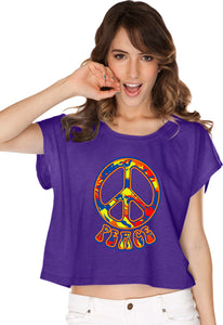 Buy Cool Shirts Ladies Peace T-shirt Funky 70's Peace Sign Boxy Tee
