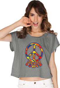 Ladies Peace T-shirt Funky 70's Peace Sign Boxy Tee