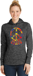 Ladies Peace Hoodie Funky 70's Peace Sign Moisture Wicking Hoody
