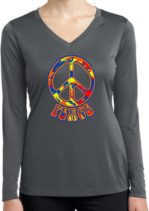 Ladies Peace T-shirt Funky Peace Sign Dry Wicking Long Sleeve
