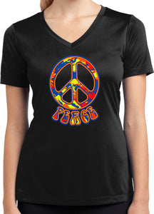Buy Cool Shirts Ladies Peace T-shirt Funky 70's Peace Sign Dry Wicking V-Neck