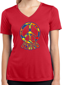 Ladies Peace T-shirt Funky 70's Peace Sign Dry Wicking V-Neck