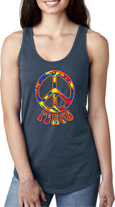 Ladies Peace Tank Top Funky 70's Peace Sign Ideal Tanktop
