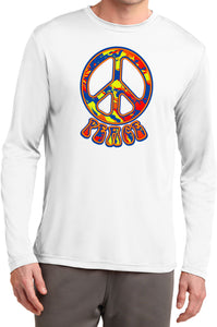 Peace T-shirt Funky 70's Peace Sign Moisture Wicking Long Sleeve