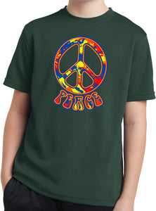 Kids Peace T-shirt Funky Peace Sign Youth Moisture Wicking Tee