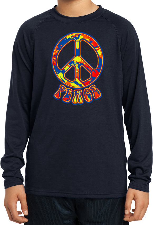 Kids Peace T-shirt Funky 70's Peace Sign Dry Wicking Long Sleeve