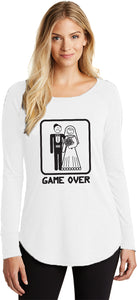 Ladies Game Over Tri Blend Long Sleeve Black Print