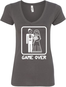 Ladies Game Over V-Neck White Print