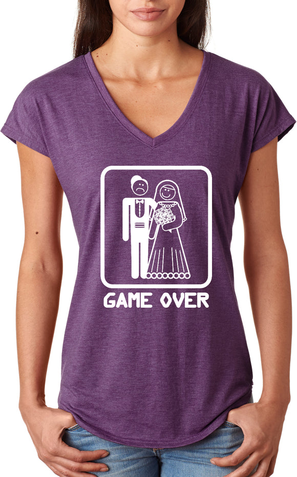Ladies Game Over Triblend V-Neck Shirt White Print