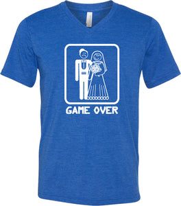 Game Over Triblend V-Neck White Print