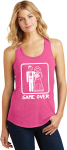 Ladies Game Over Racerback Tank Top White Print