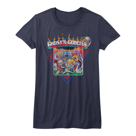 Ghosts 'n Goblins Juniors T-Shirt Characters Navy Tee