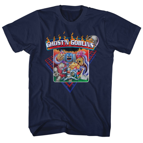 Ghosts 'n Goblins T-Shirt Characters Navy Tee