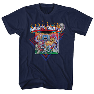 Ghosts 'n Goblins Tall T-Shirt Characters Navy Tee