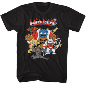 Ghosts 'n Goblins Tall T-Shirt Group Black Tee
