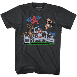 Ghosts 'n Goblins Tall T-Shirt Graveyard Black Heather Tee