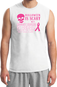 Breast Cancer T-shirt Halloween Scary Muscle Tee