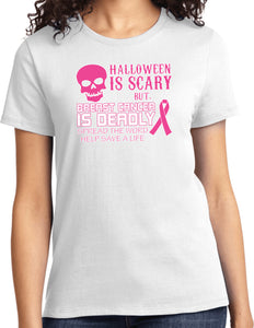 Ladies Breast Cancer T-shirt Halloween Scary Tee