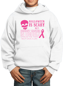 Kids Breast Cancer Hoodie Halloween Scary