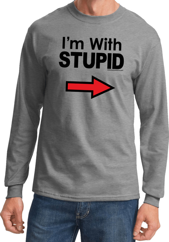I'm With Stupid T-shirt Black Print Long Sleeve