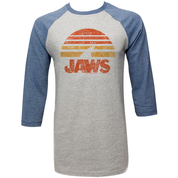Jaws Raglan T-Shirt Distressed Shark Sun Grey/Denim 3/4 Sleeve Tee