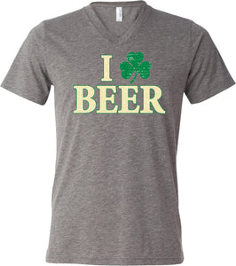 St Patricks Day T-shirt I Love Beer Tri Blend V-Neck
