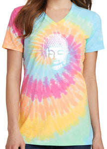 Womens Little Buddha Tie Dye V-neck Tee Shirt