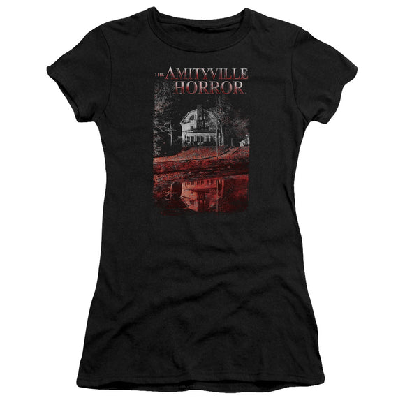 Amityville Horror Juniors T-Shirt House Reflection Black Tee
