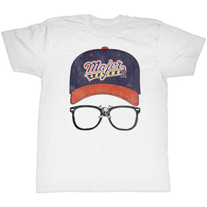 Major League II T-Shirt Cap Logo with Glasses White Tee