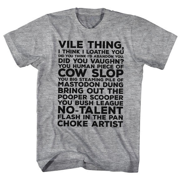 Major League Tall T-Shirt Vile Thing Grey Heather Tee