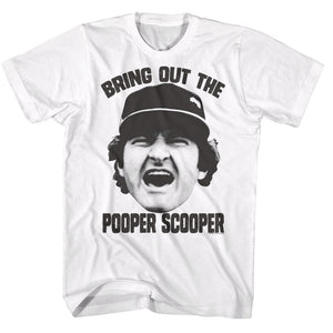 Major League T-Shirt Bring Out The Pooper Scooper White Tee