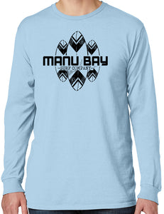 Manu Bay Surf Company SURFBOARDS Mens Cotton Long Sleeve Surfer Tee Shirt