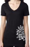 Womens Sketch Lotus Lightweight V-neck Tee - Side Bottom Print