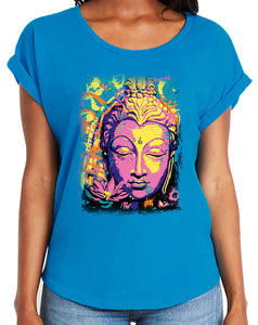 Yoga Clothing For You Women's Psychedelic Buddha Dolman Rolled Sleeve Tee Shirt